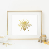 Honey Bee Faux Gold Foil Art Print - Gilded Office Decor - Girly Minimalist Art - Imitation Gold Leaf - Home Office Wall Art - SKU: 212