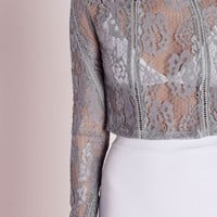 Missguided - Ladder Detail Lace Crop Top Grey