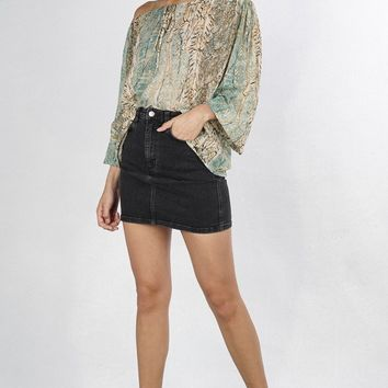 Feather print peasant top