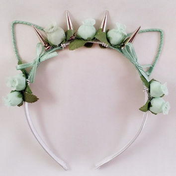 Flower Punk Cat Ear Headband - Mint