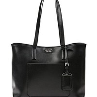 Wiberlux Prada Women's Logo Detail Leather Shoulder Bag With Removable Pouch