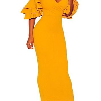 Mustard Tiered Sleeve Cold Shoulder Maxi Bodycon Dress