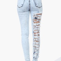Slashed High Waist Skinnies in Light Blue