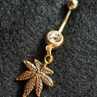 Personalized Gold Pot Leaf Belly Ring, Marijuana Jewelry, Gold Plated, Crystal, MJ Body Jewelry, Swarovski Birthstone, Weed Navel Piercing,