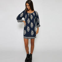 Navy/White Leaf Print Shift Dress
