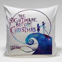 nightmare before christmas galaxy Square Pillow Case Custom Zippered Pillow Case one side and two side