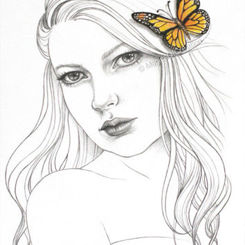 Fantasy girl original portrait drawing, the girl and the butterfly. Unique gift idea for art lovers and great wall decor when framed