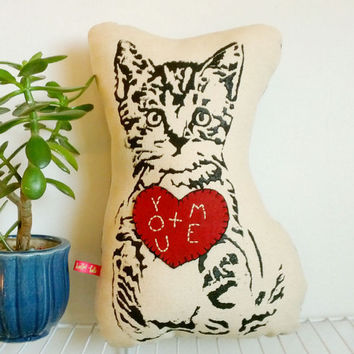Valentine Kitten Stuffie Embroidered Heart Modern Screen Printed Cat Pillow Vintage Fabric Personalized