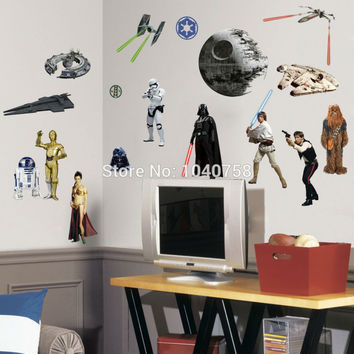 PVC Cartoon Star Wars Peel and Stick Wall Stickers for Kids Boys Room Wall Decal Home Decoration Wall Paper Art Posters
