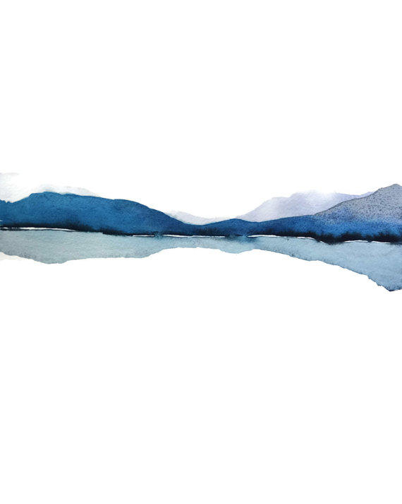 Abstract Landscape Watercolor Painting From