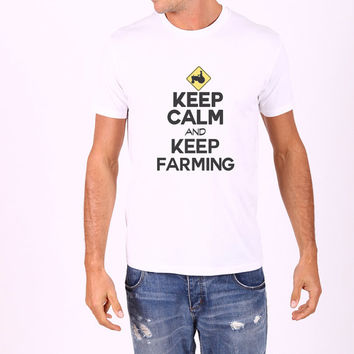 Keep Calm And Keep Farming - Mens Farmer Country Barn Tshirt - Farmers Gift - Grandpa Present 2100