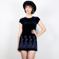 Vintage 90s Dress Navy Blue Velvet Dress Micro Mini Dress 1990s Dress Soft grunge Dress Club Kid Dress Velour Floral Dress XS Extra Small S
