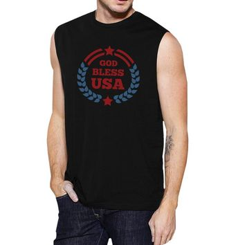 God Bless USA Mens Black Cap Sleeve Cotton Muscle Tank Top For Men