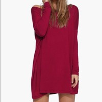 wine red casual long sleeve dress