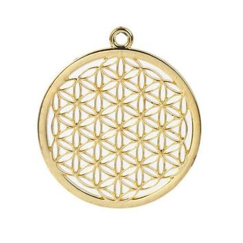 Zinc Based Alloy Flower Of Life Pendants Round Gold Plated/silver Tone Hollow Carved 44mm(1 6/8') X 40mm(1 5/8') 3 Pcs