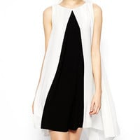 Black and White Chiffon Loose Dress