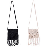 Women Trendy Shoulder Bag Crossbody Crochet Fringe Tassel Bag Messenger Handbag