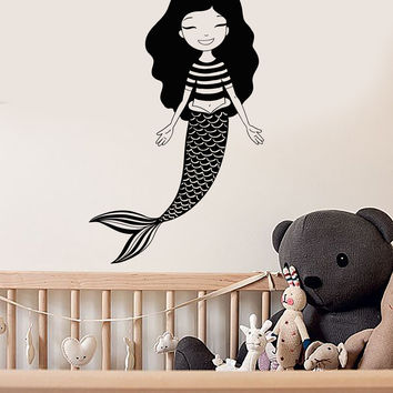 Vinyl Wall Decal Teen Mermaid Kids Girl Room Marine Style Stickers Mural Unique Gift (ig4996)