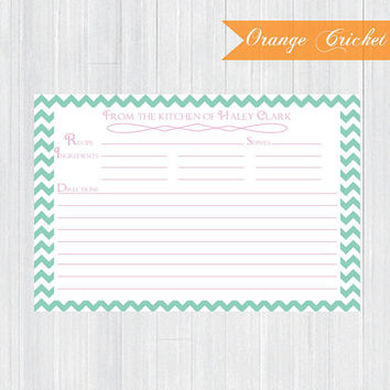Green Chevron Personalized Recipe Cards, Ingredients Cards