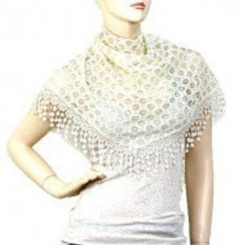 """Womens Cream Lace Scarf. Lace Scarf 64"""" X 20"""". 100% Polyester."""