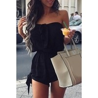 Sexy Strapless Solid Color Bowknot Elastic Waist Rompers For Women   Kitty's Clawset