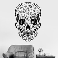 Vinyl Wall Decal Skull Weed Smoking Marijuana Cannabis Stickers Unique Gift (ig3572)