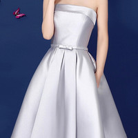 Gray Bowknot Waist Lacing Back Strapless Prom Skater Dress
