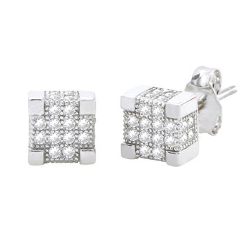 Sterling Silver Micropave Square Stud Earrings Clear Deep 3d Stones 7mm x 7mm