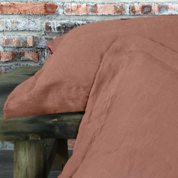 Flanged Linen Pillowcases (set of 2) Brick