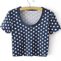 Blue Polka Dot Scoop Neckline Crop Top