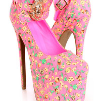 Pink Multi Printed Lion Head High Heels Fabric
