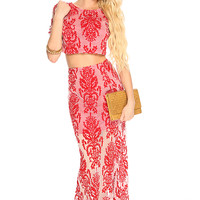 Red White Velvet Damask Mesh Maxi Cute 2 Piece Dress