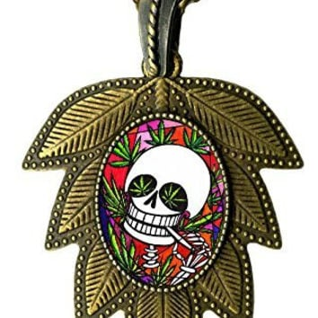 Day of the Dead Skull Marijuana Leaf Large Antique Bronze Gold Art Pendant