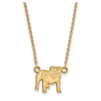 NCAA 14k Gold Plated Silver U of Georgia Small Bulldog Necklace