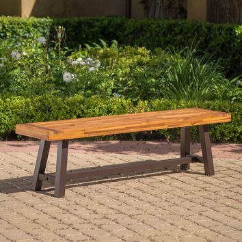 Colonial Outdoor Sandblack Finish Acacia Wood & Rustic Metal Bench