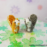 Teeny Tiny Squirrels - Micro Amigurumi Miniature Crochet Tiny Animals - Set of Two Squirrels - Made To Order