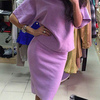 Purple Elegance Two Piece Set Dress 10034