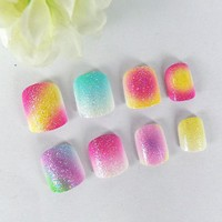 20 Pcs Gradient Color Rainbow Kits False Nails 5 Sizes Giltter Powder Pre-glue Press on Fake Nails Tips for Kits Little Girls