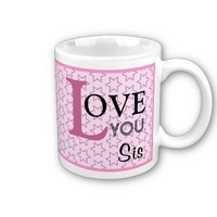 Love You Sis Custom Name Pink Stars Coffee Mug from Zazzle.com