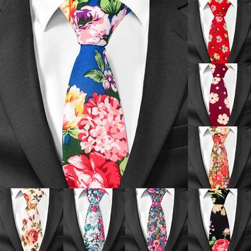 Vintage Floral Cotton Ties for Men Skinny Wedding Men Tie Slim Gravatas Business Neck tie Fashion Casual Printed Tie Necktie