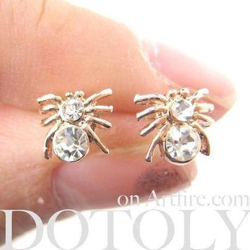Tiny Tarantula Spider Shaped Stud Earrings in Rose Gold with Rhinestones