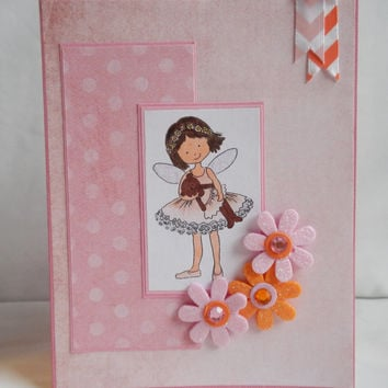 Ballerina Card, Paper Handmade Greeting Card, Cute and Pretty, Flowers, For Girls, Pink and Orange, Sparkly