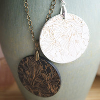 Wooden Pendant Necklace - Black OR White