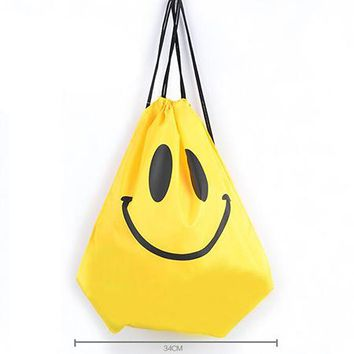 new Smiley printed Drawstring Backpack for Students