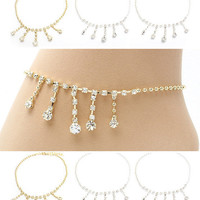 Crystal Drape Anklet Ankle Bracelet Gold or Silver Toned Free Toe Ring