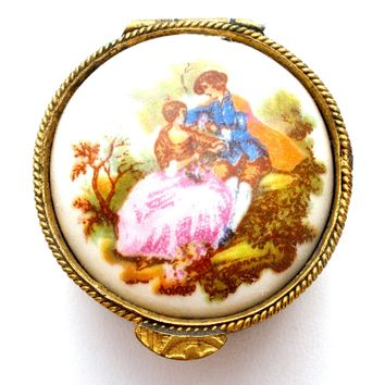 Vintage Pill Box with Victorian Scene Italy