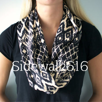 Black and Tan Tribal Knit Infinity Scarf