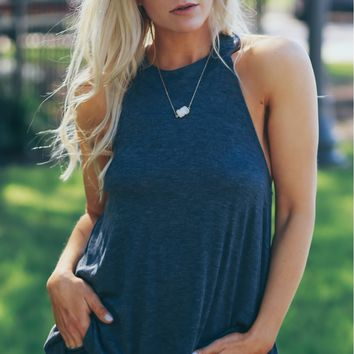 Twisted Back Tank Top Azul Grey