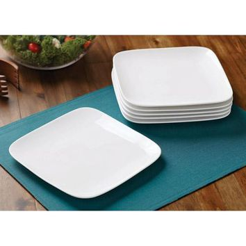 Better Homes and Gardens Set of 6 Soft Square White Salad Plates