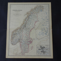 NORWAY SWEDEN Large antique map 1878 original old English poster of Stockholm Oslo big vintage maps 49x61c 19x24""
